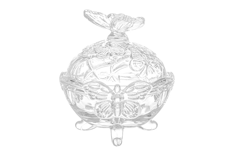 Конфетница (вазочка для варенья) 10,5х10,5х12 см 200 мл Elan Gallery Бабочки с крышкой вазочка с крышкой due esse christmas вазочка с крышкой