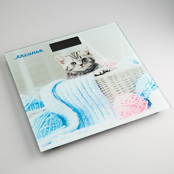 Напольные весы Аксинья КС-6002 Забавный котенок, электронные, мультиколор весы напольные аксинья кс 6005 рассвет