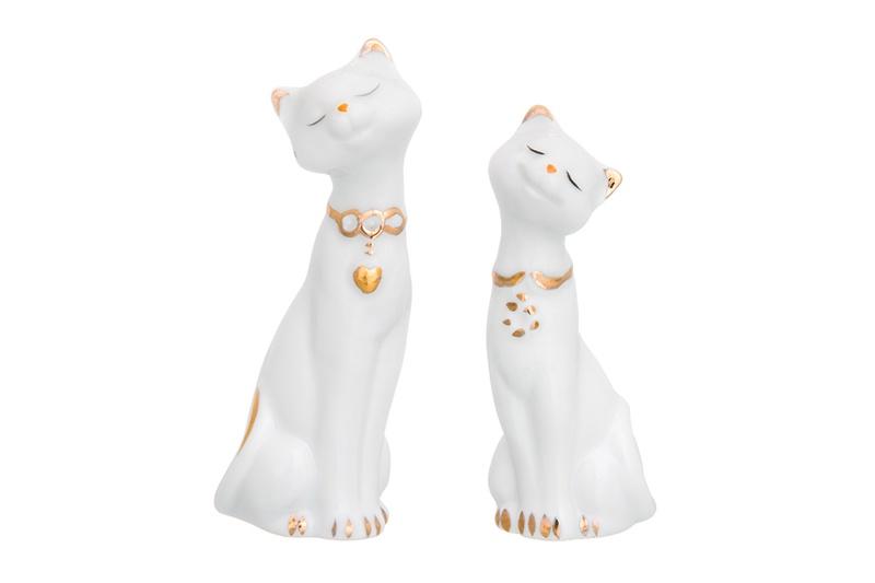 Фигурка декоративная 2 предмета 7х3,5х10 см Elan Gallery Пара кошек белая с золотом дверь для кошек ферпласт свинг 3 белая
