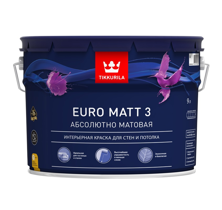 Краска Tikkurila EURO MATT 3 A гл/мат 9л, белый краска в д euro trend a мат д обоев и стен мат 2 7л арт 700009617