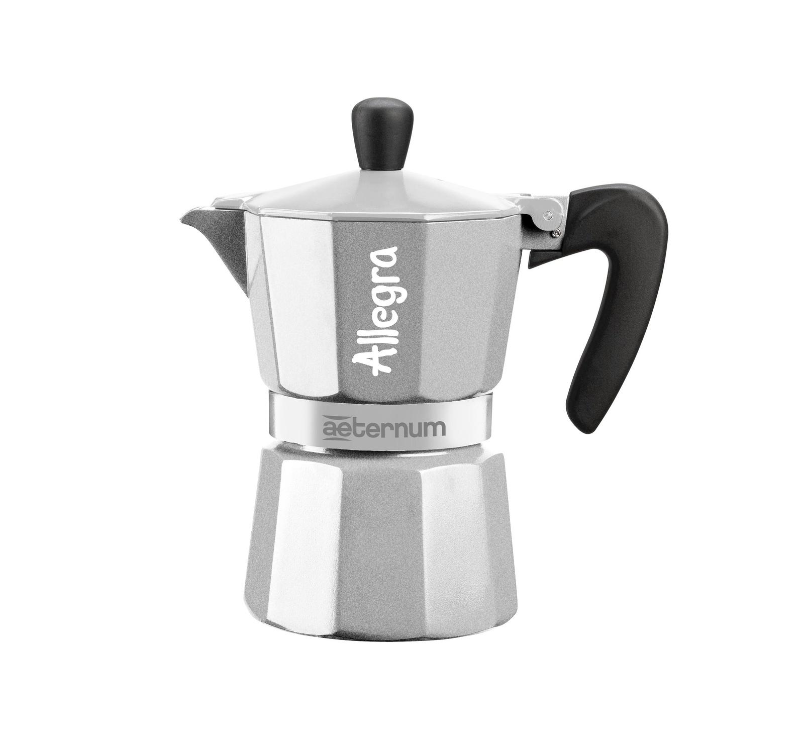 Гейзерная кофеварка Bialetti Aeternum Allegra, серый металлик кофеварка гейзерная bialetti aeternum elegance 6 порций алюминий 6008