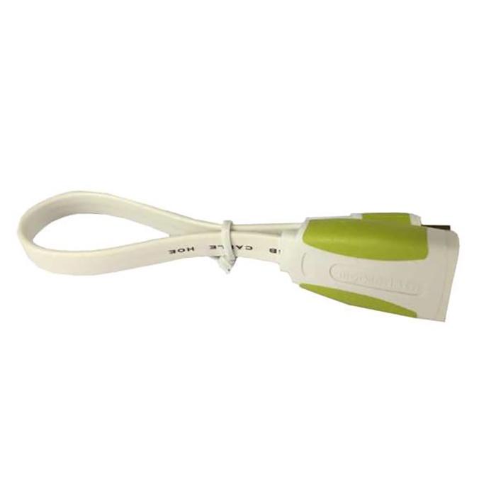 Кабель Mobiledata OTG MicroUSB - USB, плоский, белый/зеленый, 0.15 м