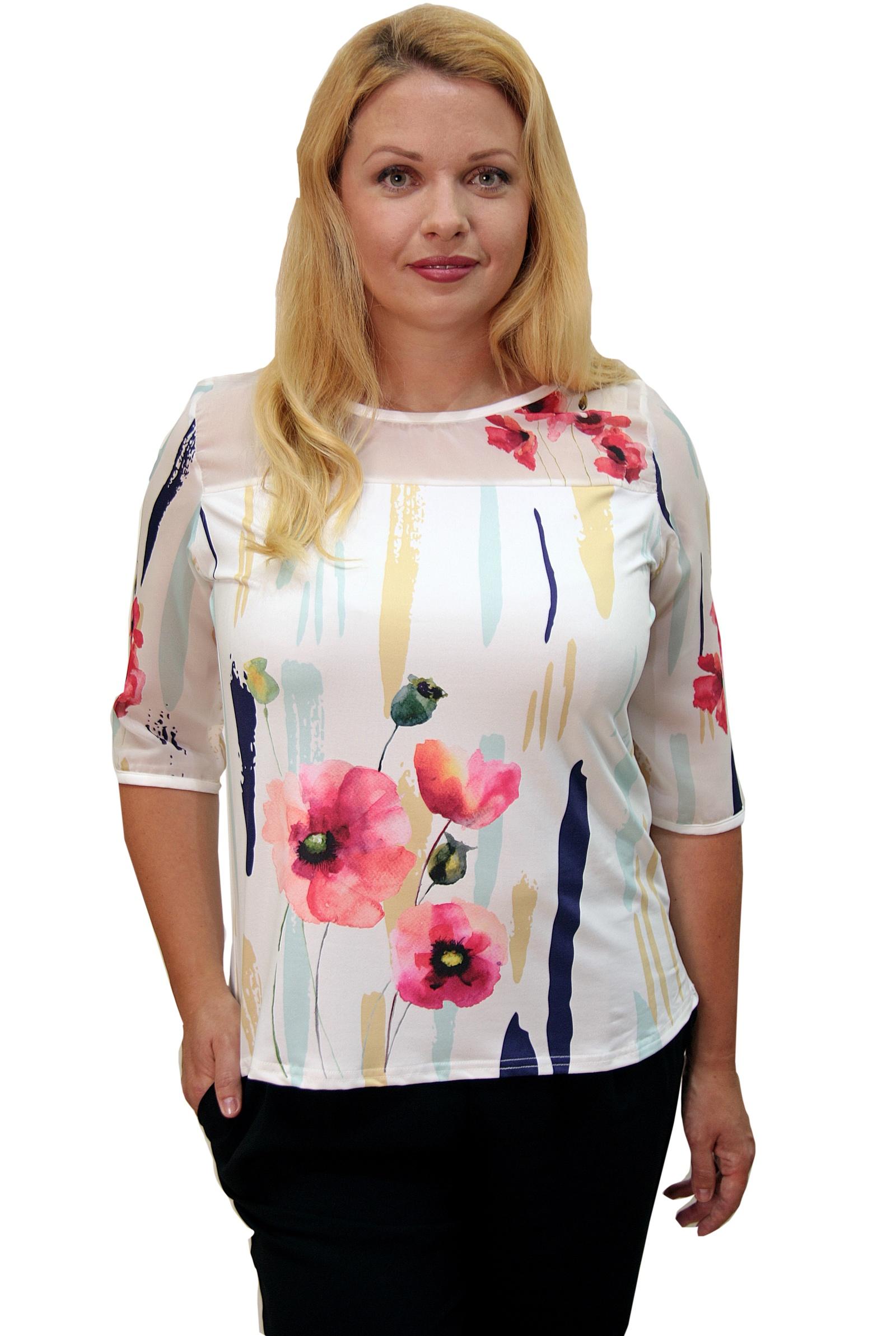 Футболка Naturel, белый 48 размерCMLT1605150-LФутболка свободного кроя выполнена из мягкого легкого трикотажа, украшена ярким, красочным принтом. Рукав и кокетка выполнены из полупрозрачного шифона. Футболка-блузка будет замечательно смотреться не только в деловом, офисном и повседневном стиле, но и романтическом. В этой футболке вы будите выглядеть современно, женственно и соответствовать модным тенденциям текущего сезона.