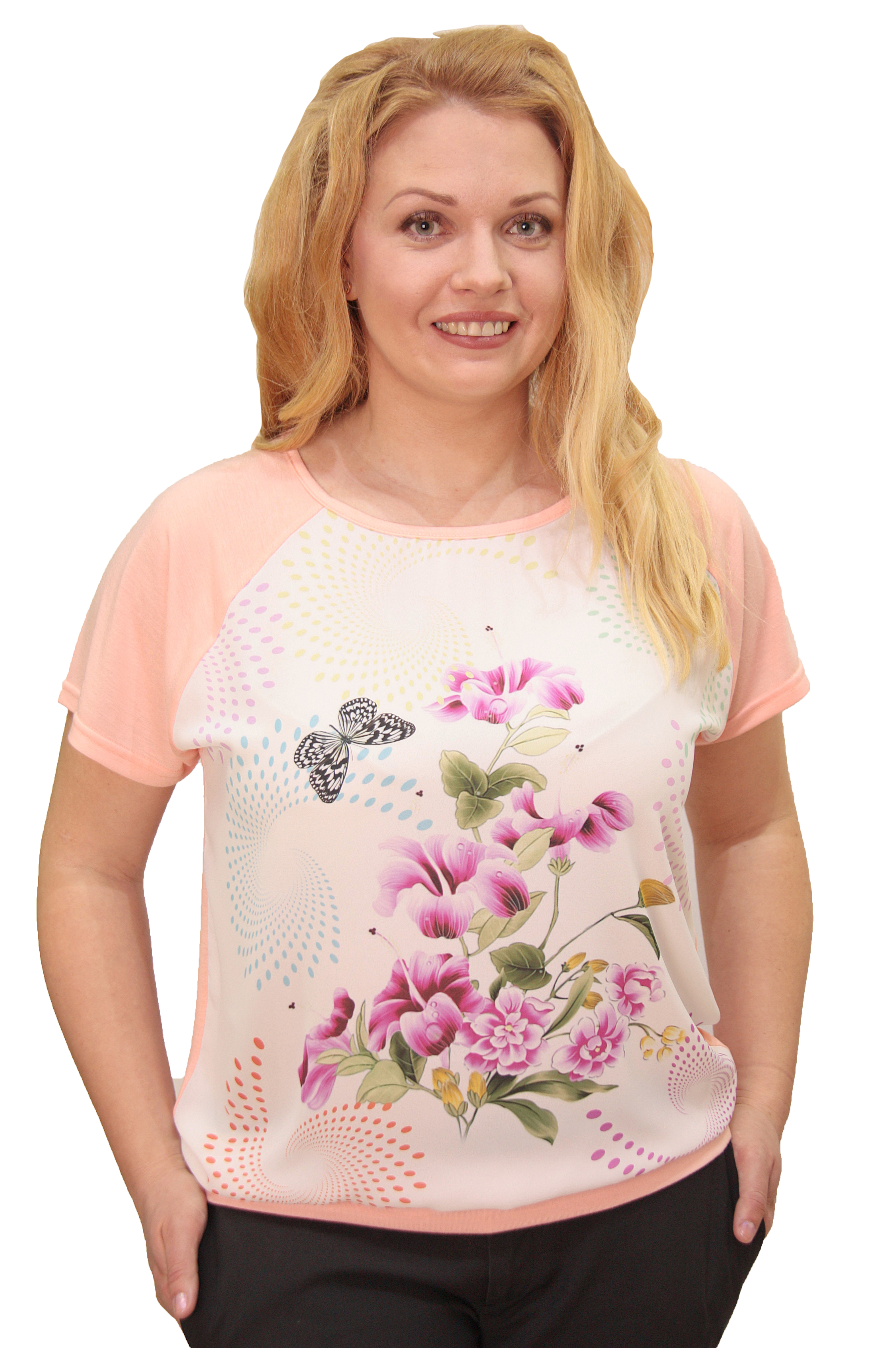 Футболка Naturel, розовый 48 размерCMST1602406-LФутболка-блуза свободного кроя выполнена из двух летних, приятных к телу тканей: спинка и рукава однотонный легкий, мягкий трикотаж, перед -шифоновая вставка с ярким, красочным, цветочным принтом. Футболка-блузка будет замечательно смотреться не только в деловом, офисном и повседневном стиле, но и романтическом. В этой футболке вы будите выглядеть современно, женственно и соответствовать модным тенденциям текущего сезона.