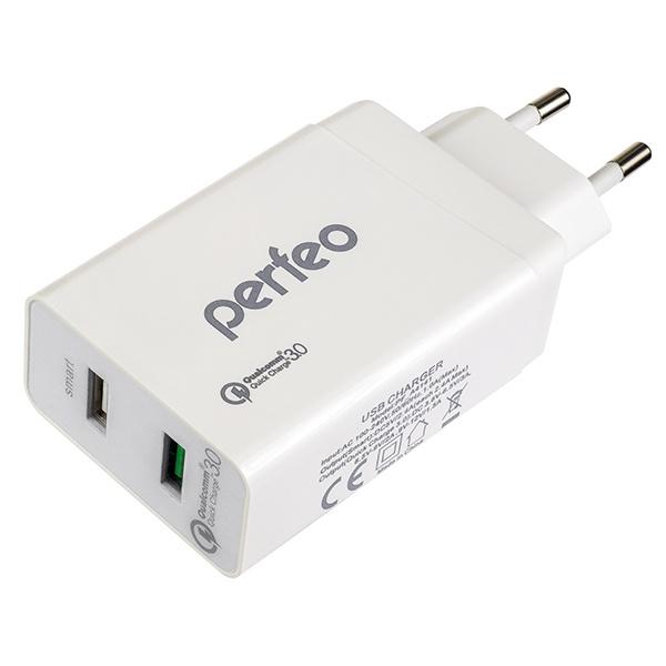Зарядное устройство Perfeo PF_A4141, белый сетевое зарядное устройство 1 x usb 5в 3 0а orient pu 2601 ipad samsung