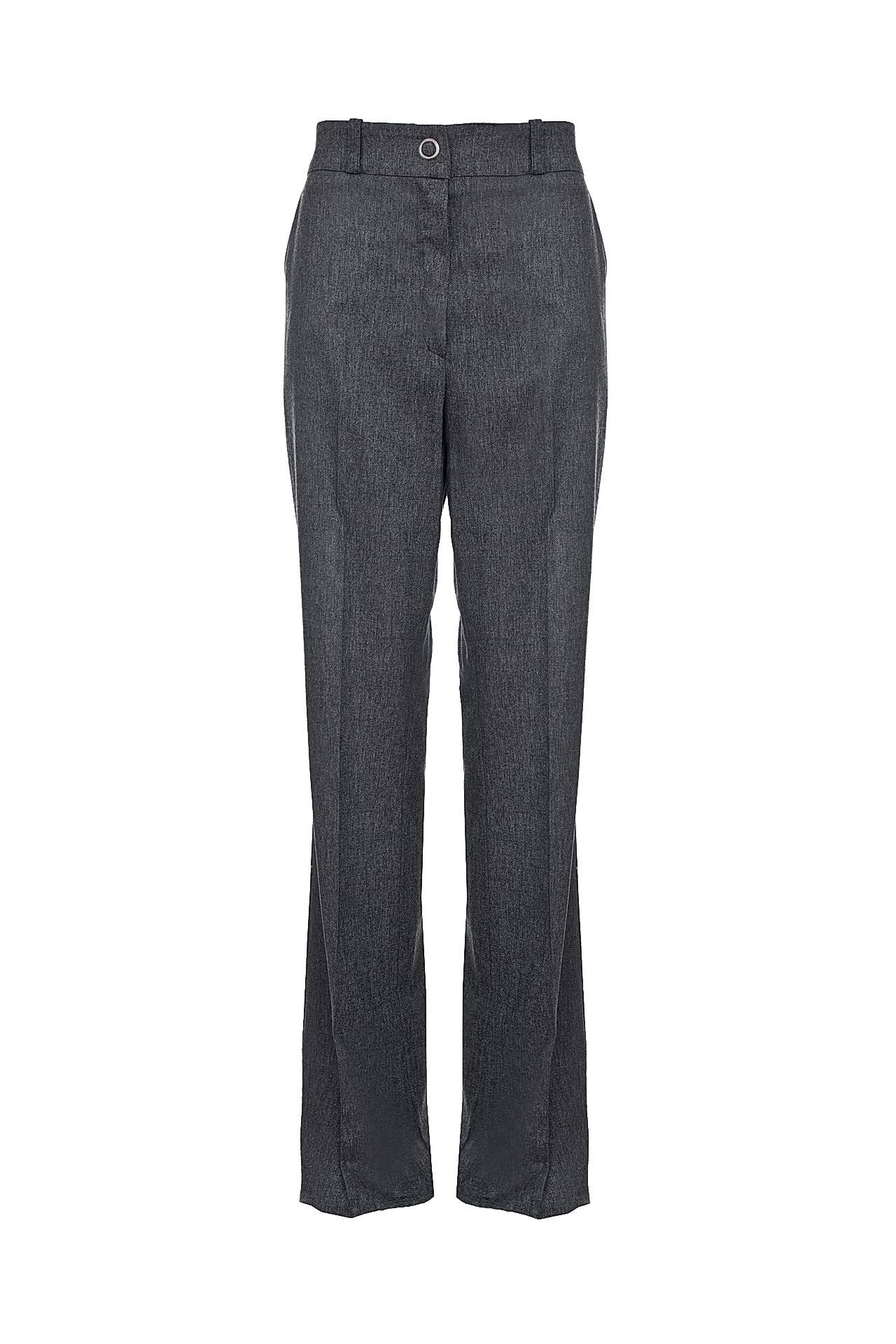 Брюки GRINKO, серый 42 размер48093-40Брюки цвета серый меланж, прямые, на потайной молнии, пояс с хлястиками для ремня, спереди кнопка, по боками потайные карманы