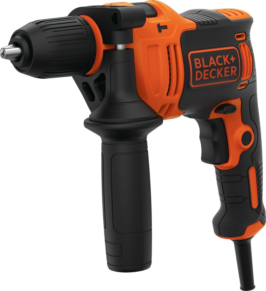Дрель Black & Decker Omega BEH710, электронная, ударная, оранжевый, черный