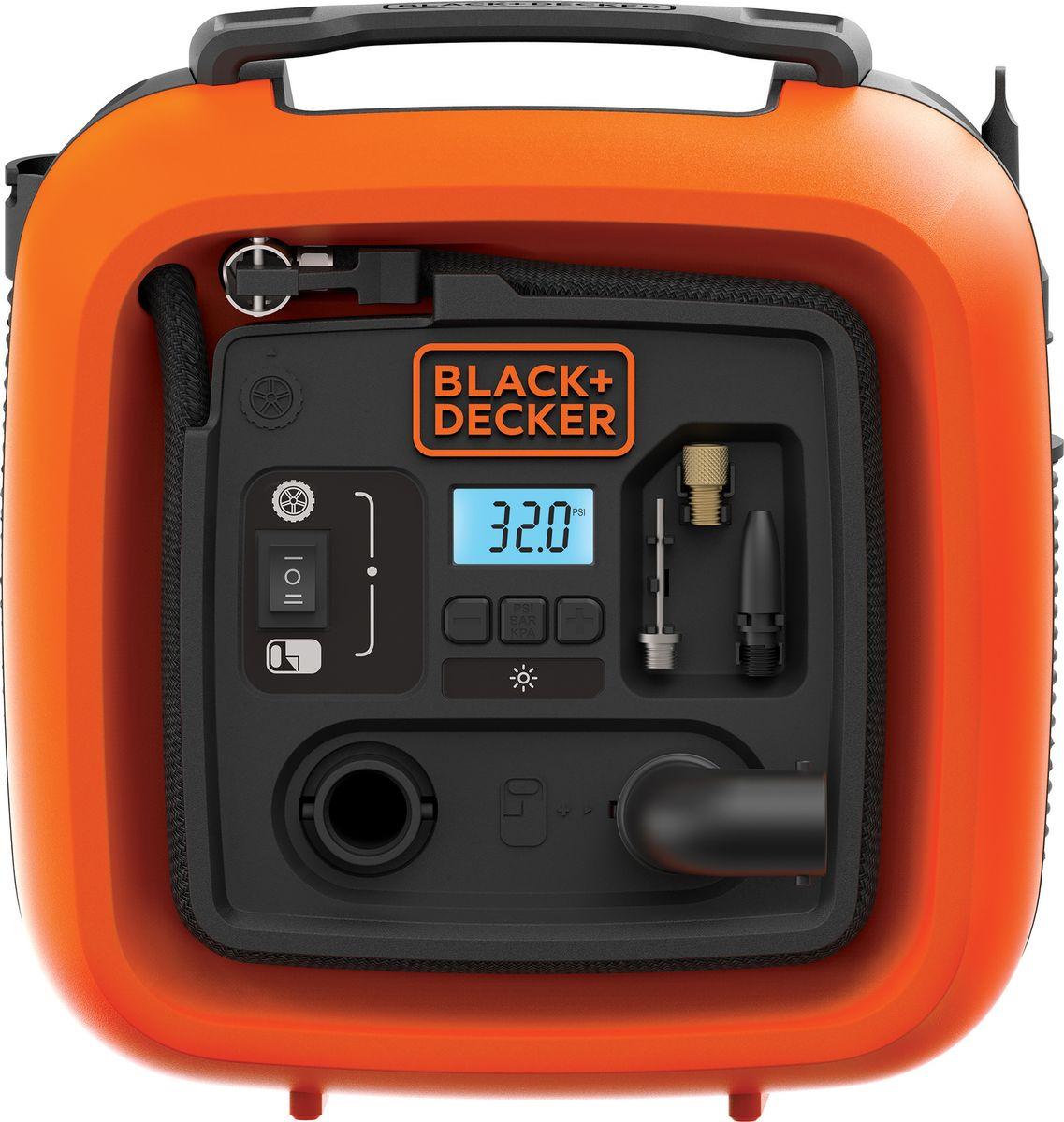 Автомобильный компрессор Black & Decker ASI400, оранжевый, черный