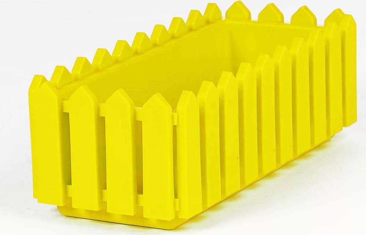 Балконный ящик Элластик-Пласт Лардо, с поддоном, ЭП 097747, желтый, 47 х 19,2 х 16 см цена