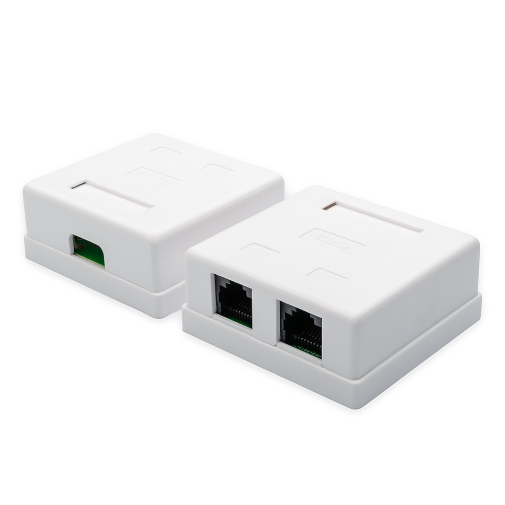 Розетка ATcom  2 порта, накладная, UTP, RJ45, белая, белый