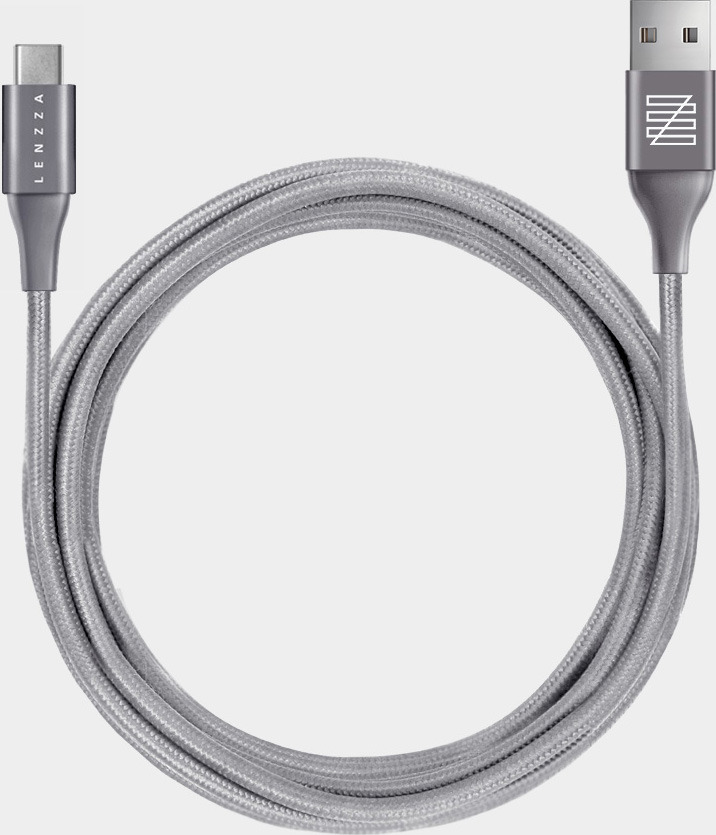 Кабель Lenzza Nylon Braided USB Type-C Kevlar Cable, 2 м, серый кабель belkin mixit duratek usb c cable built with dupont kevlar золотой