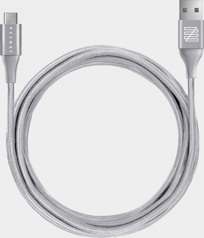Кабель Lenzza Nylon Braided USB Type-C Kevlar Cable, 2 м, серебристый кабель belkin mixit duratek usb c cable built with dupont kevlar золотой