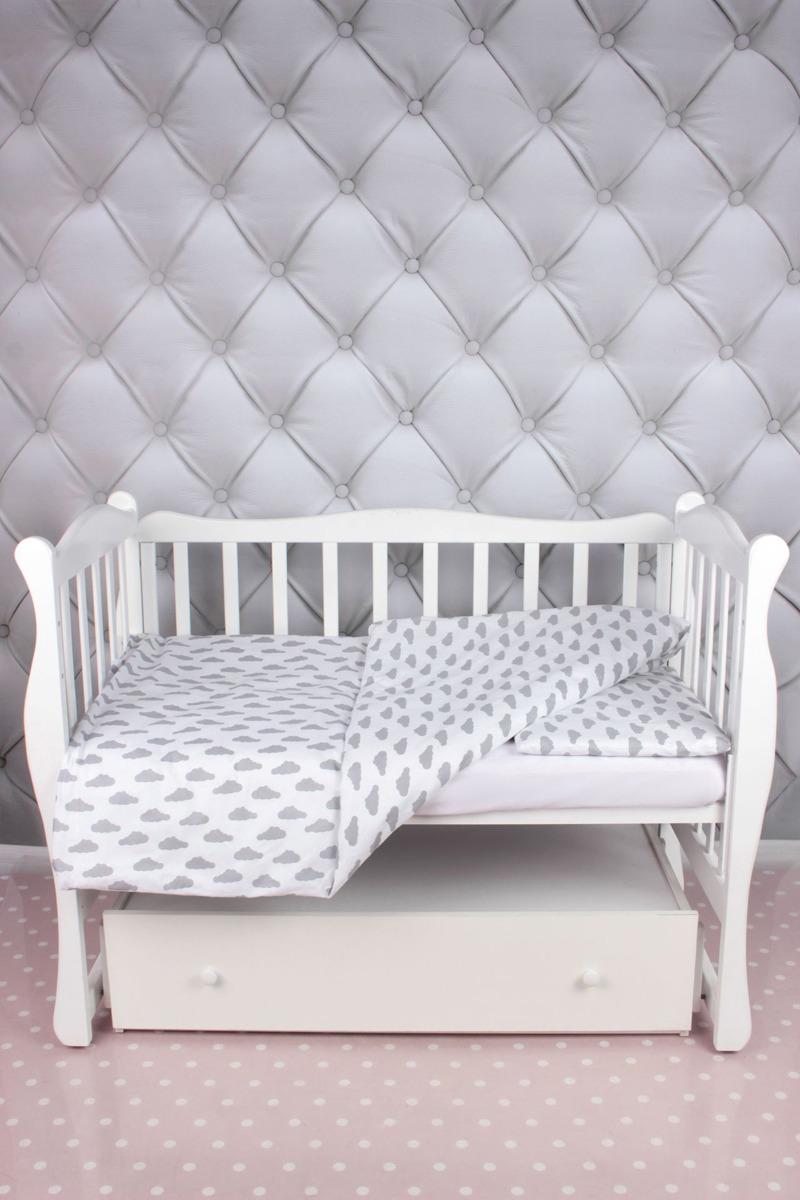 цена Комплект постельного белья детский AmaroBaby Baby Boom, облака, серый, бязь, 3 предмета онлайн в 2017 году