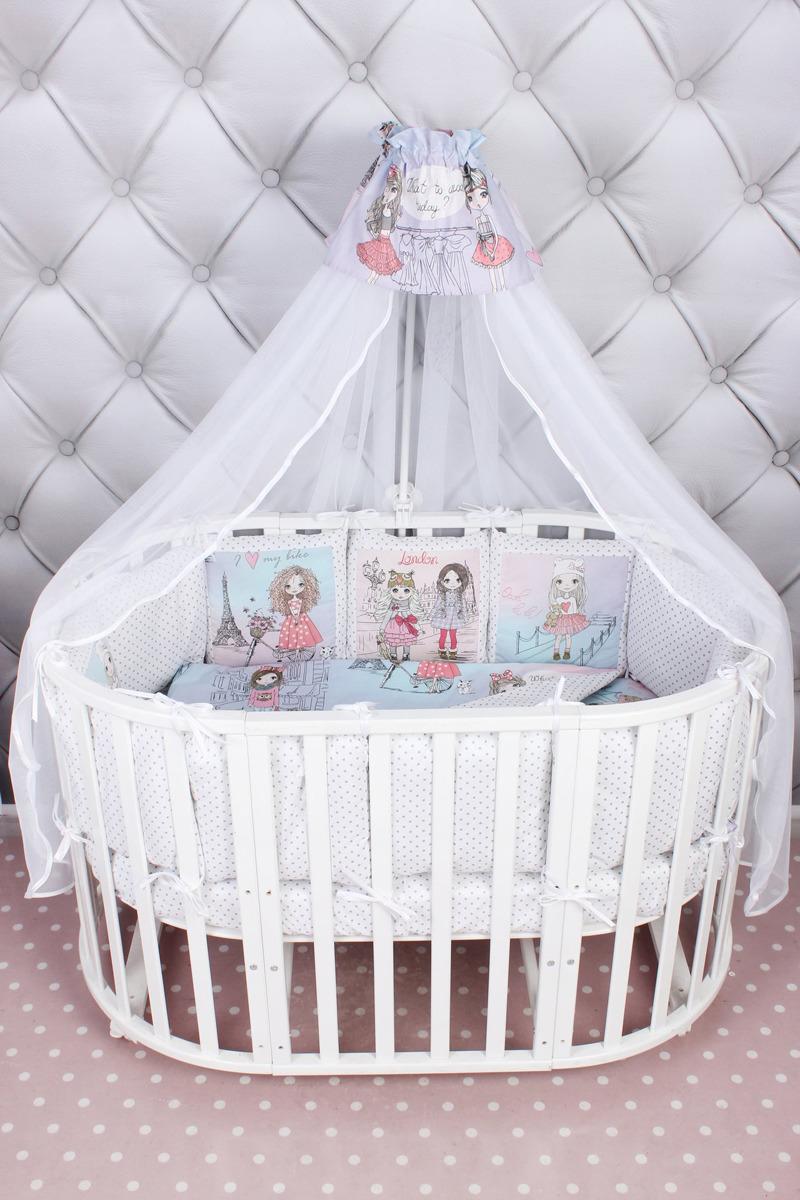 цена Комплект белья в кроватку AmaroBaby Little Crystal Premium, поплин, розовый, 19 предметов онлайн в 2017 году
