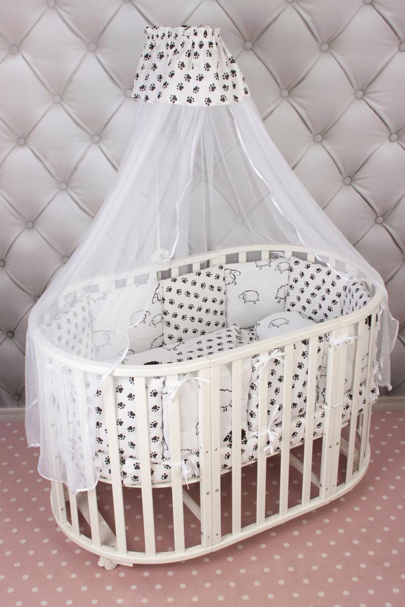 Комплект белья в кроватку AmaroBaby Home Elite Premium, черный, белый, поплин, бязь, 19 предметов