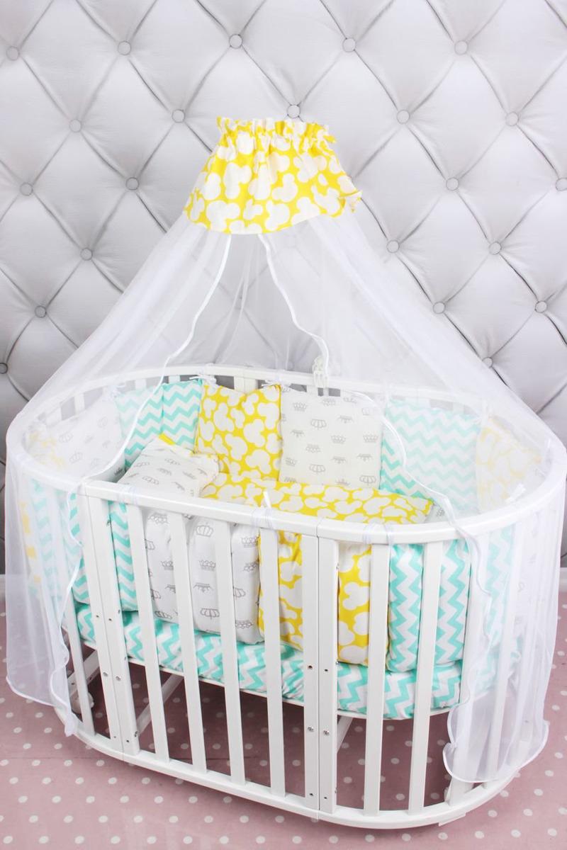 Комплект белья в кроватку AmaroBaby Happy Baby Premium, мятный, желтый, бязь, 19 предметов