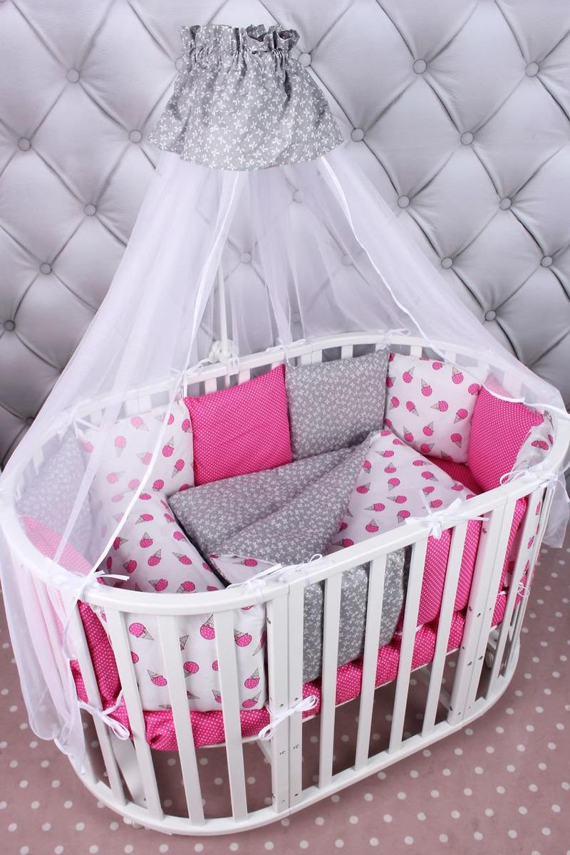 Комплект белья в кроватку AmaroBaby Sweet Premium, малиновый, белый, универсальный, 19 предметов