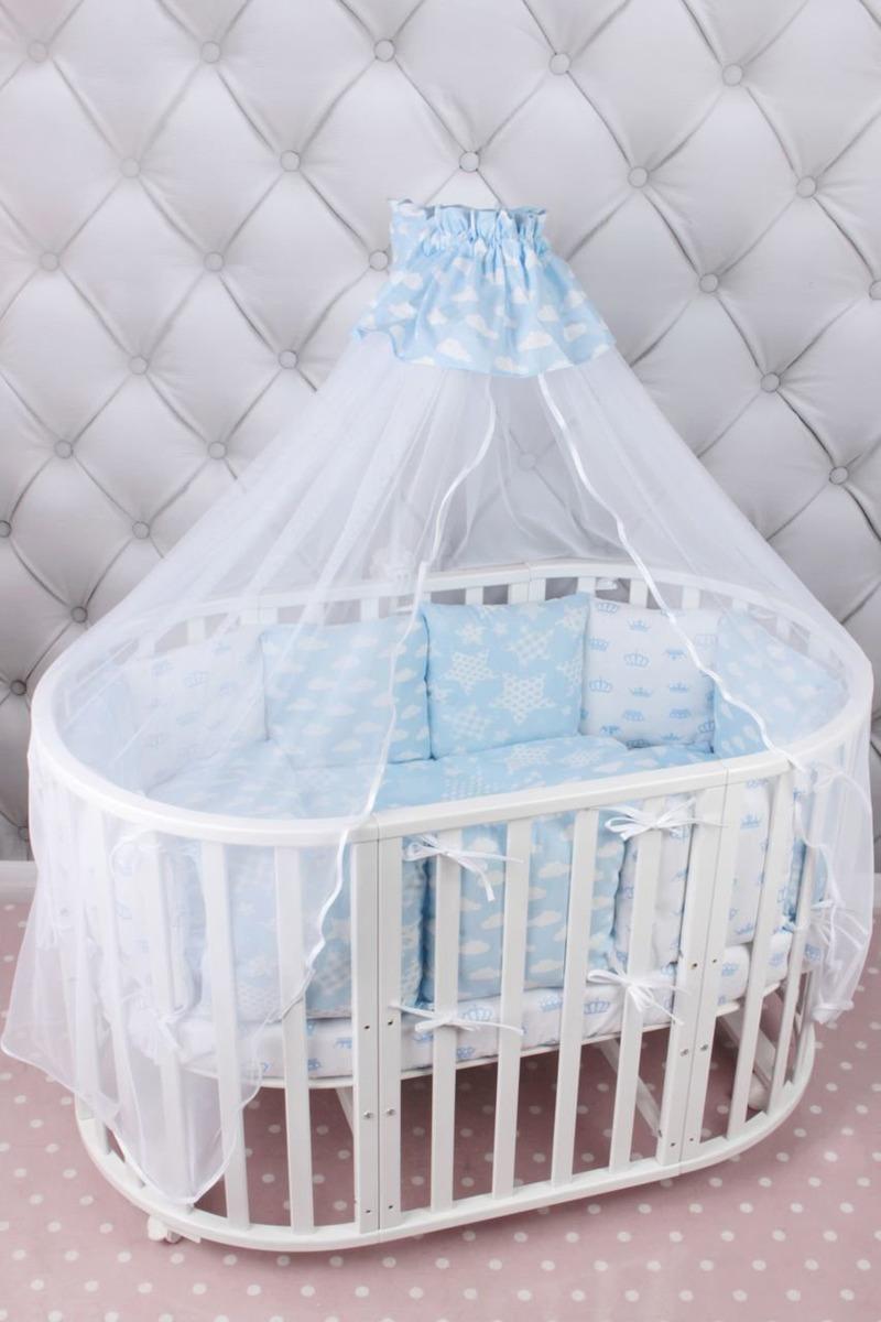 Комплект белья в кроватку AmaroBaby Воздушный Premium, голубой, бязь, универсальный, 19 предметов