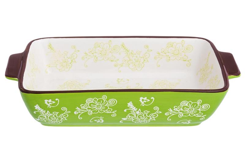 Блюдо для запекания Elan Gallery Цветочная симфония на зеленом, белый, зеленый блюдо для запекания elan gallery цветочная симфония цвет красный 1 6 л
