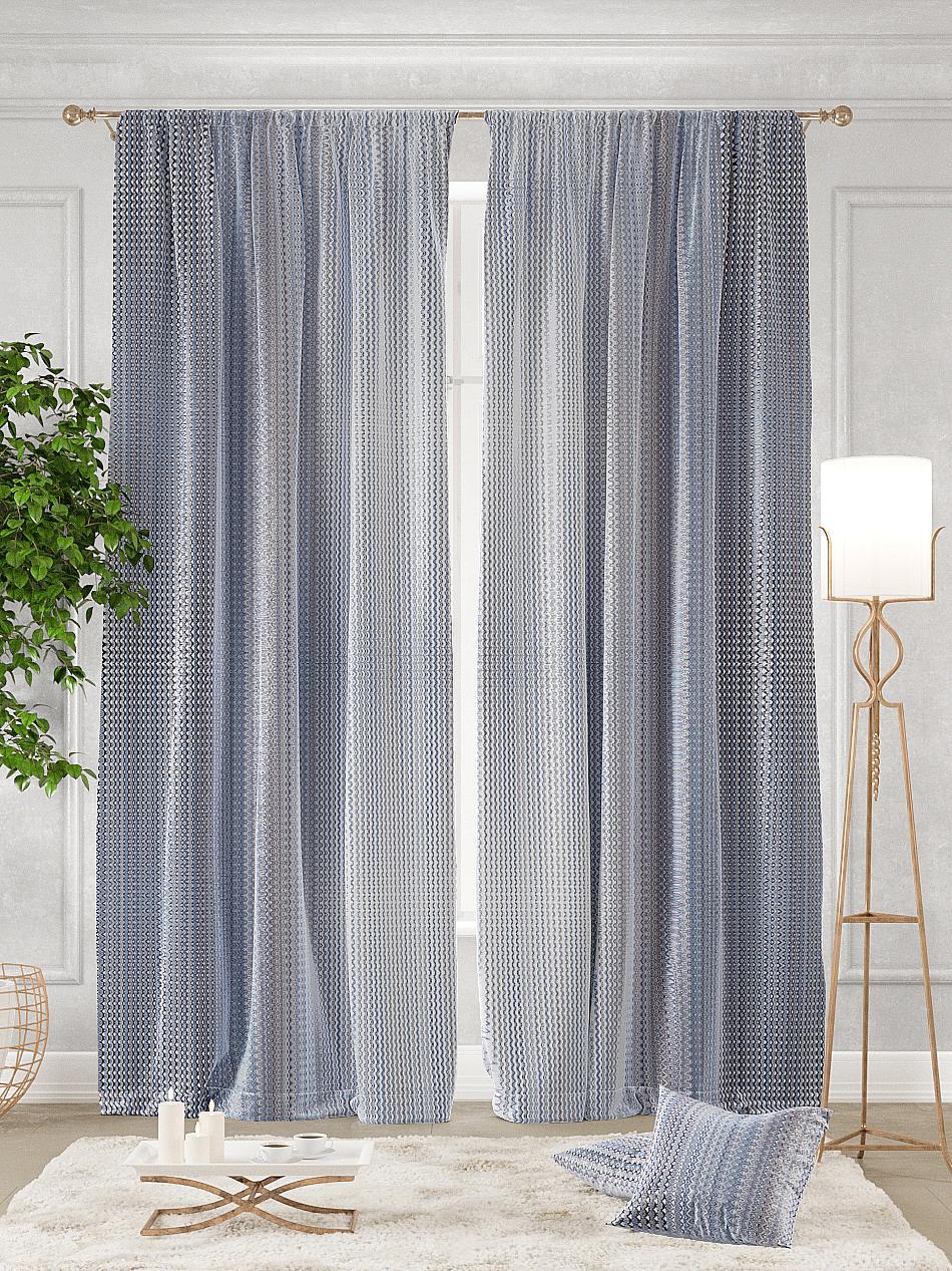 Комплект штор Томдом Тисоли, белый, серый, синий, сиреневый полотенце томдом самдель синий
