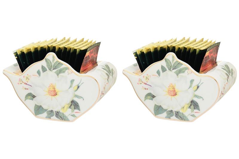 Подставка для чайных пакетиков Elan Gallery Белый шиповник, белый, зеленый patricia набор подставок для чайных пакетиков 4 шт im56 0212 мульт