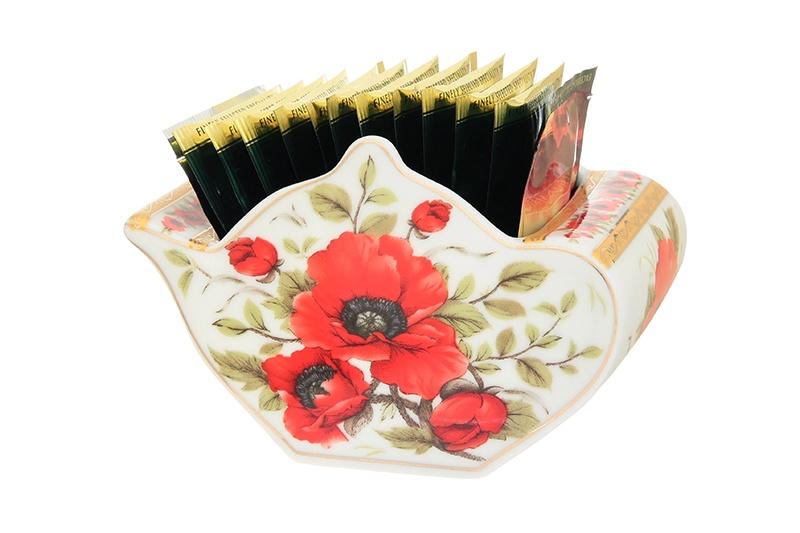 Подставка для чайных пакетиков Elan Gallery Маки, белый, красный стоимость