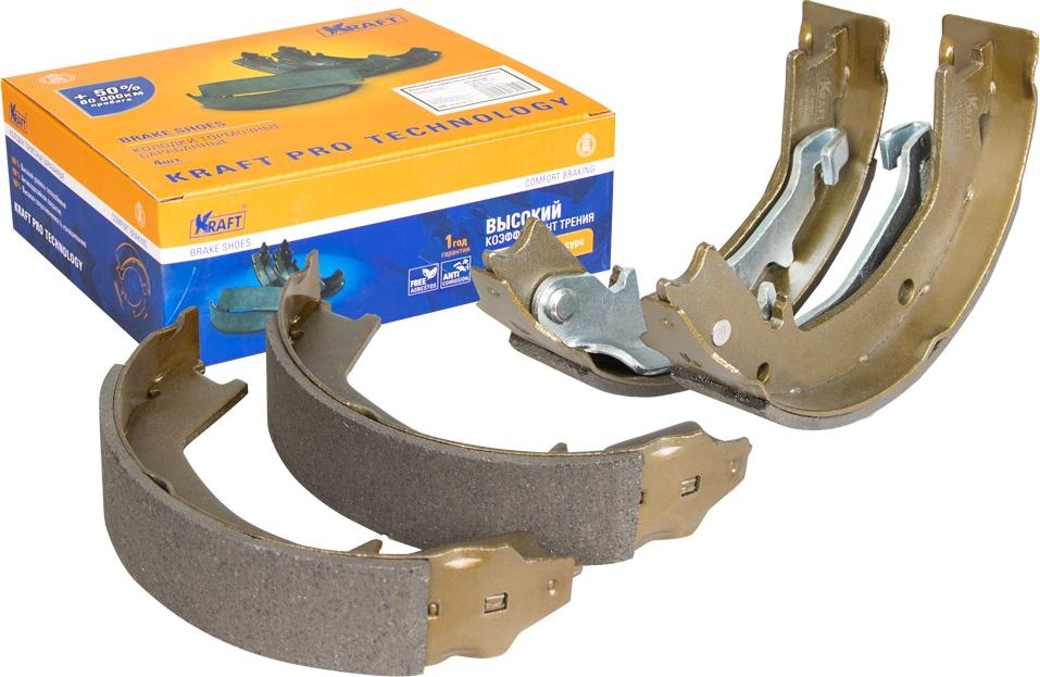Колодки тормозные барабанные Kraft, для Hyundai Santa Fe I 00-06, Tucson 04-, Trajet 00 - ;Kia Sport
