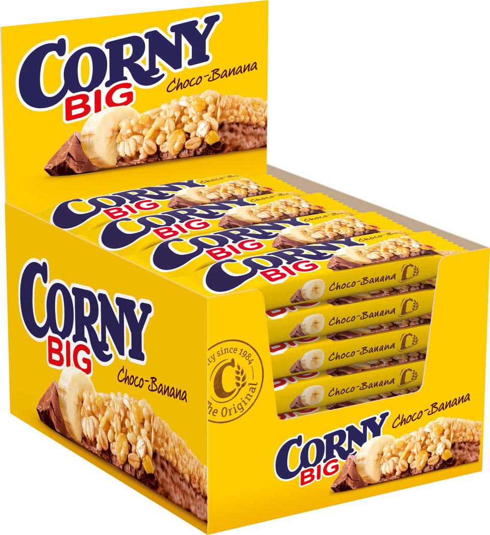 Corny Big злаковая полоска с бананом и молочным шоколадом, 24 штбзк002_24 штукиЗлаковые батончики Corny – вкусная и здоровая альтернатива традиционным снэкам – шоколадным плиткам, чипсам и булкам. Батончики сочетают в себе исключительную пользу и удобство. В их состав входят злаки, орехи, фрукты и шоколад. Разнообразие видов позволяет каждому выбрать батончик по своему вкусу. Медленные углеводы заряжают полезной энергией, а удобная форма и упаковка соответствуют быстрому ритму жизни.