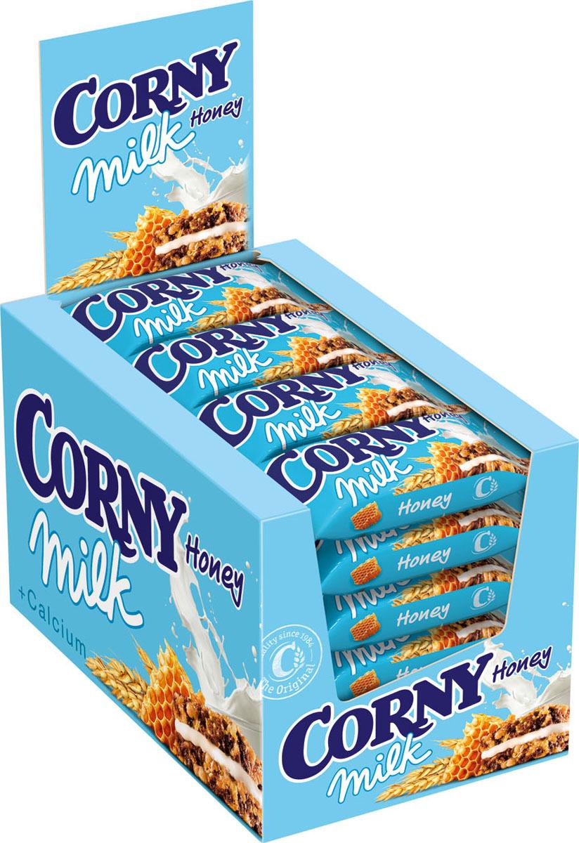 Corny Milk злаковый батончик с молочным наполнителем и медом, 24 шт corny milk cocoa батончик злаковый c молоком и какао 30 г
