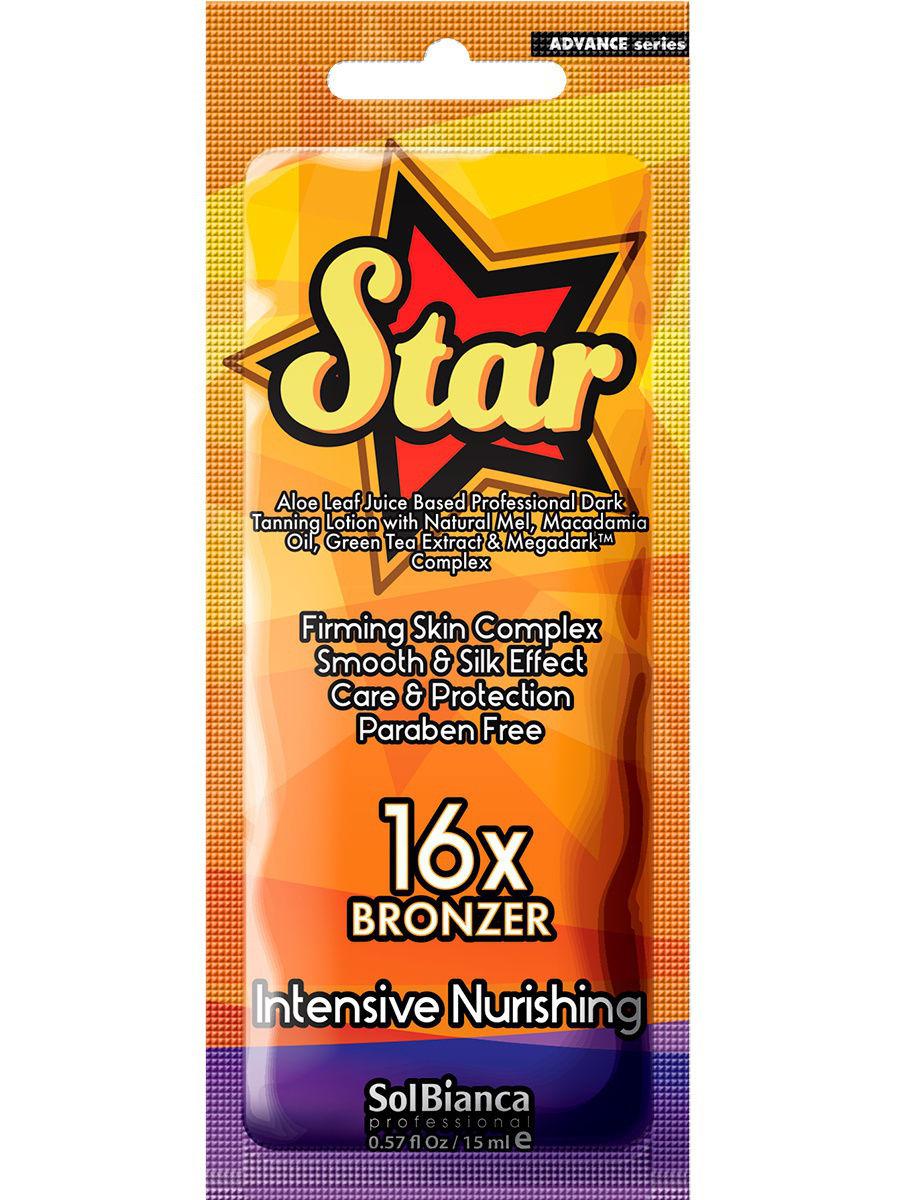 """Крем для загара в солярии SOLBIANCA """"Star""""16х bronzer109-88033Крем с питательно-разглаживающим косметическим комплексом, поможет коже получить насыщенный оттенок загара. Натуральный мед и масло макадамии увлажняют и питают кожу, обладают интенсивными разглаживающими и смягчающими свойствами, способствуют повышению упругости. Экстракт зеленого чая является природным антиоксидантом и способствует улучшению состояния кожи в целом. Пантенол успокаивает и восстанавливает кожу, обеспечивая дополнительную защиту. Основой крема является сок листьев алое, который обладает исключительными увлажняющими и смягчающими свойствами, оказывает общее положительное воздействие на кожу и повышает ее защитные функции.Инновационный комплекс Megadark Rapid, состоящий из 16 - компонентного бронзатора, стимулирует проявление насыщенного оттенка, благодаря чему ваша кожа приобретет темный, стойкий и ровный загар без пятен и разводов. Легкая консистенция крема подарит ощущение свежести и комфорта. Результат будет заметен уже через 3 часа после сеанса, а нежный аромат позволит вам получить дополнительное удовольствие от загара. Крем прекрасно подходит для всех типов кожи. НЕ СОДЕРЖИТ ПАРАБЕНОВ. ПРЕДНАЗНАЧЕН ДЛЯ ИСПОЛЬЗОВАНИЯ В СОЛЯРИИ. Меры применения. Избегать попадания в глаза, при попадании промыть водой. Не содержит UV-фильтры.Хранить в недоступном для детей месте. Условия хранения: хранить при температуре от +5?С до + 25?С, не допускается хранение под прямыми солнечными лучами и вблизи отопительных приборов. Срок годности 36 месяцев с даты изготовления. Дату ..."""