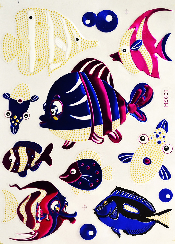 Наклейки Room Décor виниловая из цветной фольги 20х28см, HS-001 Рыбы, Винил
