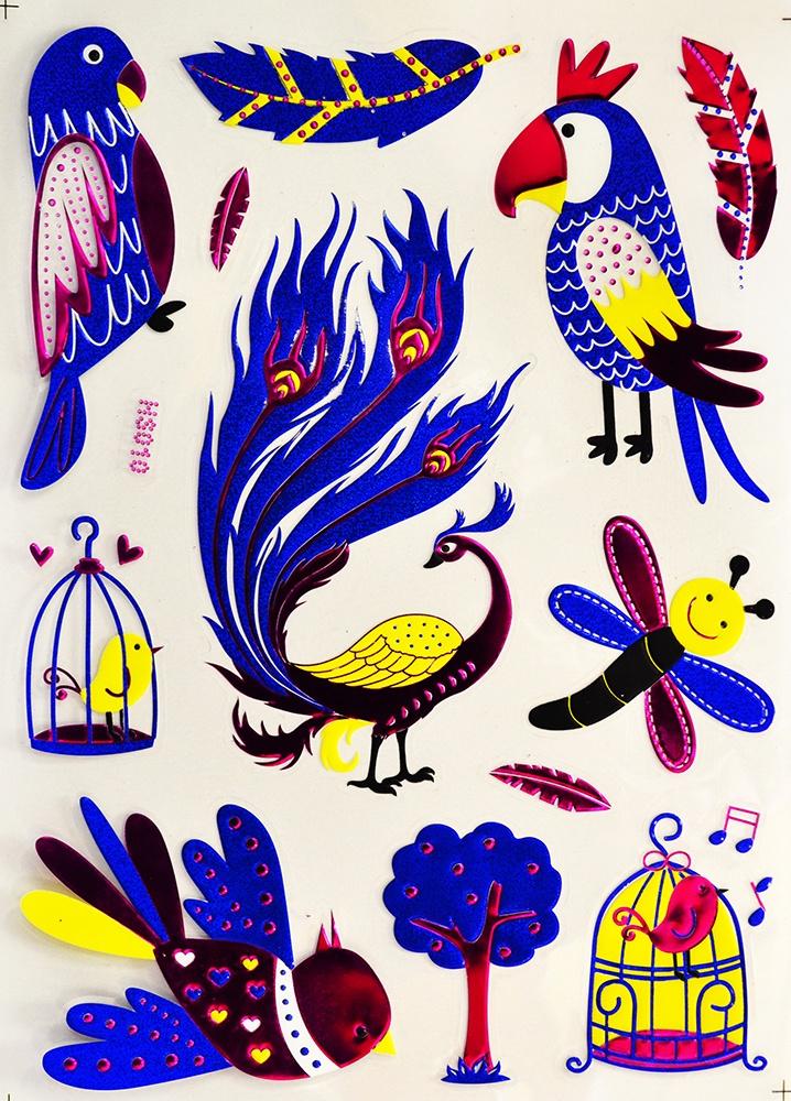 Наклейки Room Décor виниловая из цветной фольги 20х28см, HS-010 Птицы, Винил