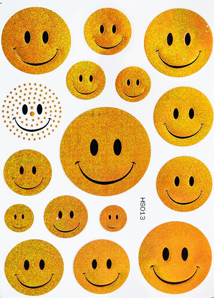 Наклейки Room Décor виниловая из цветной фольги 20х28см, HS-013 Смайлы, Винил