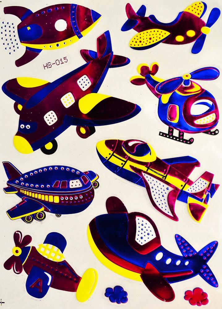 Наклейки Room Décor виниловая из цветной фольги 20х28см, HS-015 Самолёты, Винил