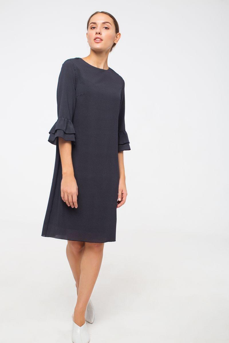 Платье Модный дом Виктории Тишиной roxana боди черное в мелкий горошек цветочная аппликация