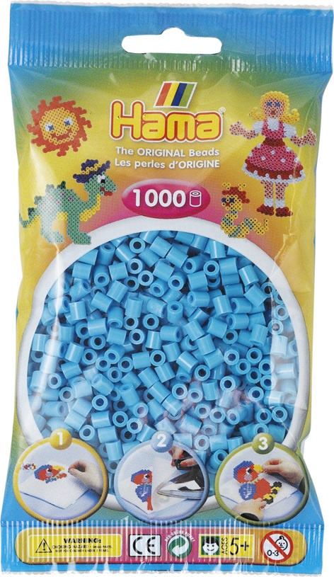 Мозаика Hama Бусинки для термомозаики MIDI лазурного цвета. 1000 шт. 207-49 hama бусинки для термомозаики midi микс 207 67