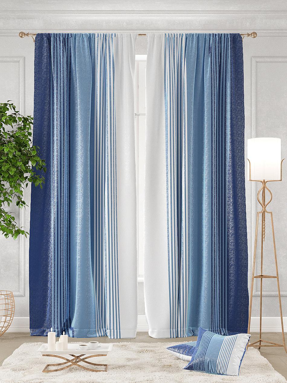 Комплект штор Томдом Ланджит, синий, голубой, белый полотенце томдом самдель синий