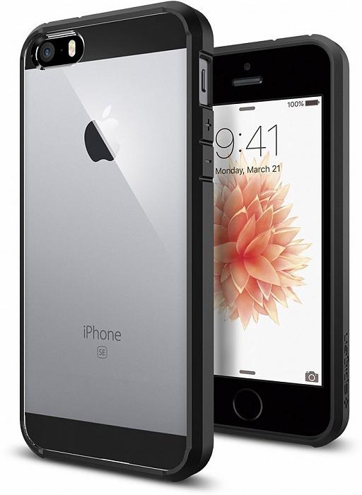 Чехол для сотового телефона SGP Ultra Hybrid (041CS20173) для iPhone 5/5S/SE, черный чехол для apple iphone 6 6s sgp ultra hybrid metal slate