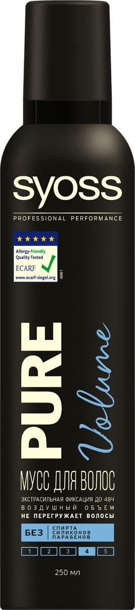 Мусс для волос Syoss Pure Volume, экстрасильная фиксация, 250 мл мусс для укладки волос syoss volume lift экстрасильная фиксация 250 мл