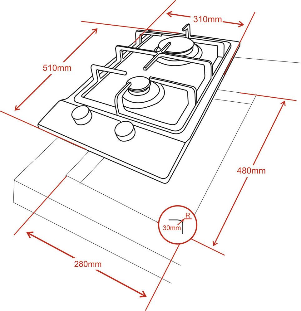 Варочная панель Ginzzu HCG-217, газовая, 2 конфорки, серый металлик Ginzzu