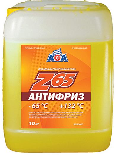 Антифриз AGA, AGA044Z, желтый, -65C, 10 л