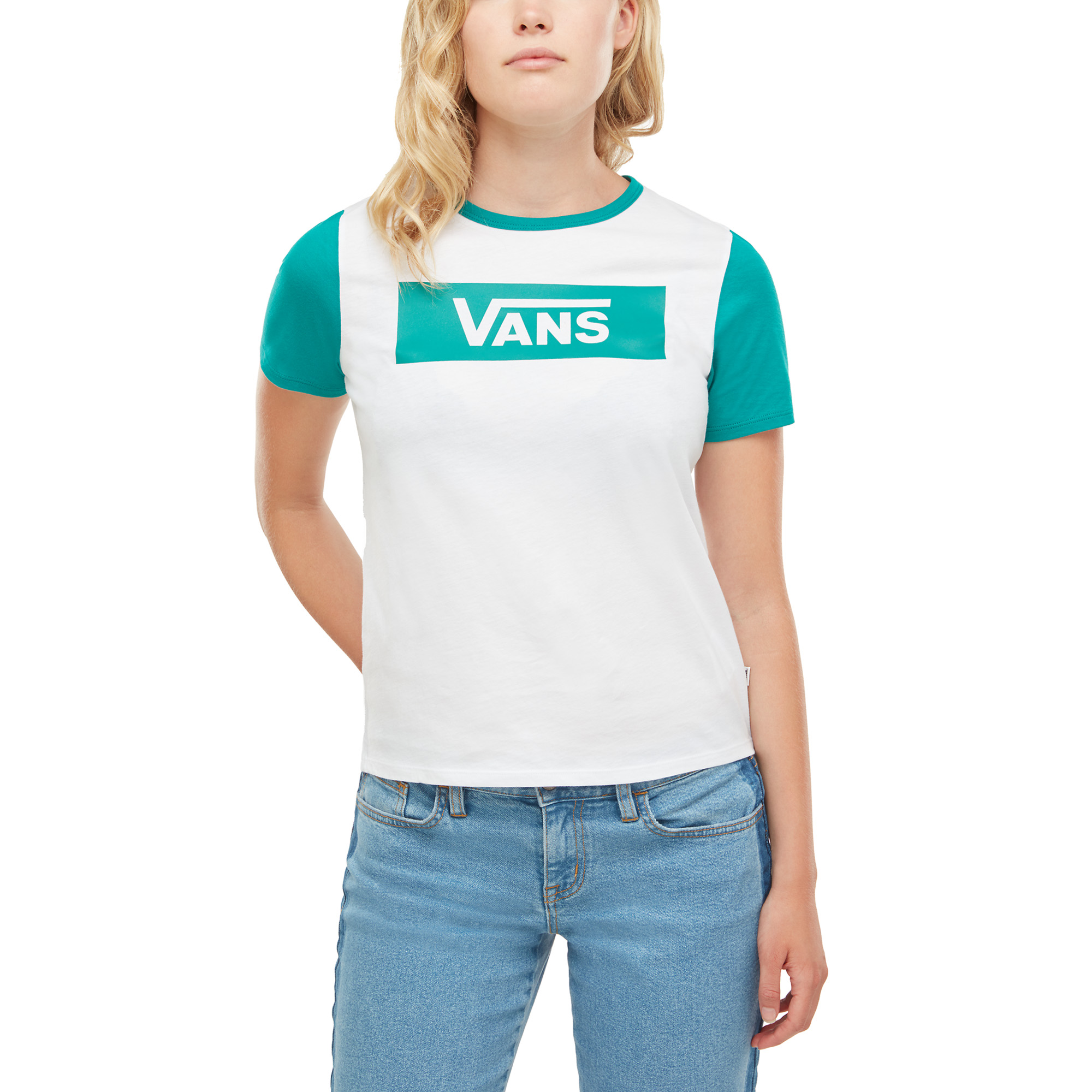 Футболка женская Vans V Tangle Range Ringer, цвет: белый, зеленый. VA3ULLUWJ. Размер XS (40) футболка женская mustang цвет светло серый 1005500 4141 размер xs 40