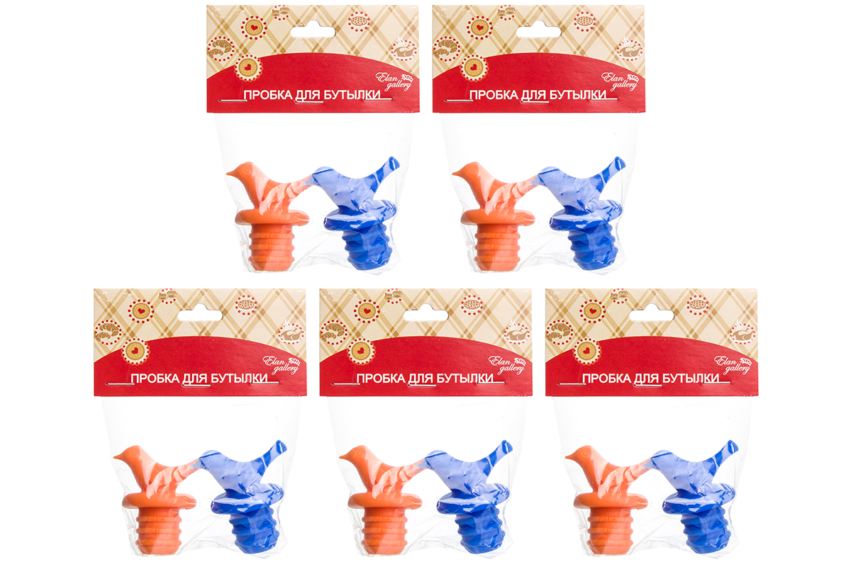 """Набор пробок д/бутылок 2 шт. 4,2*3*5 см. """"Птички оранжевая и синяя"""" (5 наборов)"""