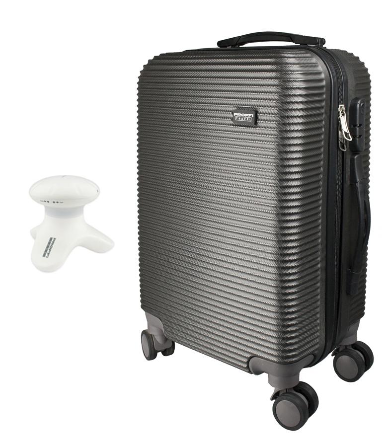 """Чемодан PROFFI TRAVEL с кодовым замком, S, малый, пластиковый + вибрационный мини массажер Relax, серыйPH10410Чемодан PROFFI TRAVEL PH8858grey с кодовым замком и мини-массажер «RELAX» - это необходимый набор для путешествующих людей. Компактный, но достаточно вместительный чемодан, который прекрасно подходит как для деловых поездок, так и для путешествий. Мини-массажер RELAX - эргономичный и очень компактный, его можно использовать не только дома, но и брать его с собой в любые поездки и путешествия, так как для его работы не требуется электричество.Чемодан PROFFI цвета графит на колесах.Выполнен из пластика, отличается высокой стойкостью к механическим воздействиям.Внутри чемодана 2 отделения: одно на замке-""""молнии"""" по периметру, во втором вещи фиксируются при помощи перекрестных прижимных ремней. Закрывается чемодан на молнию и кодовый замок.Для удобства транспортировки имеется 4 независимых колеса , прочная выдвижная и обычная ручки сверху, а также боковая ручка.Массажер очень прост в эксплуатации: всё что вам нужно для использования - это приложить прибор к зоне массажа и слегка нажать на него. Вибромассаж улучшает циркуляцию крови в тканях, расслабляет различные группы мышц, а также улучшает самочувствие и настроение.Преимущества мини-массажера PROFFI RELAX:компактность и портативностьвибромассаж, который оказывает расслабляющее воздействие на мышцы.управление одним касанием!три массажных пальчика, которые позволяют провести точечный массаж всего тела.Отличный подарок близким и друзьям на любой праздник."""