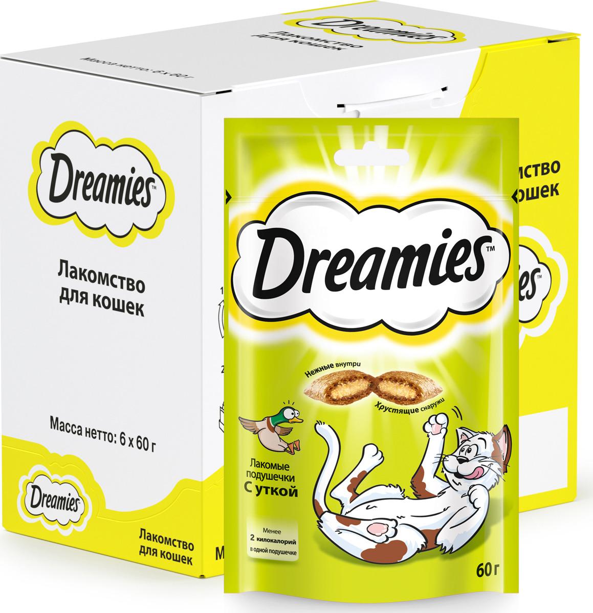 Лакомство для взрослых кошек Dreamies, подушечки с уткой, 60 г лакомство для взрослых кошек dreamies подушечки с курицей 140 г