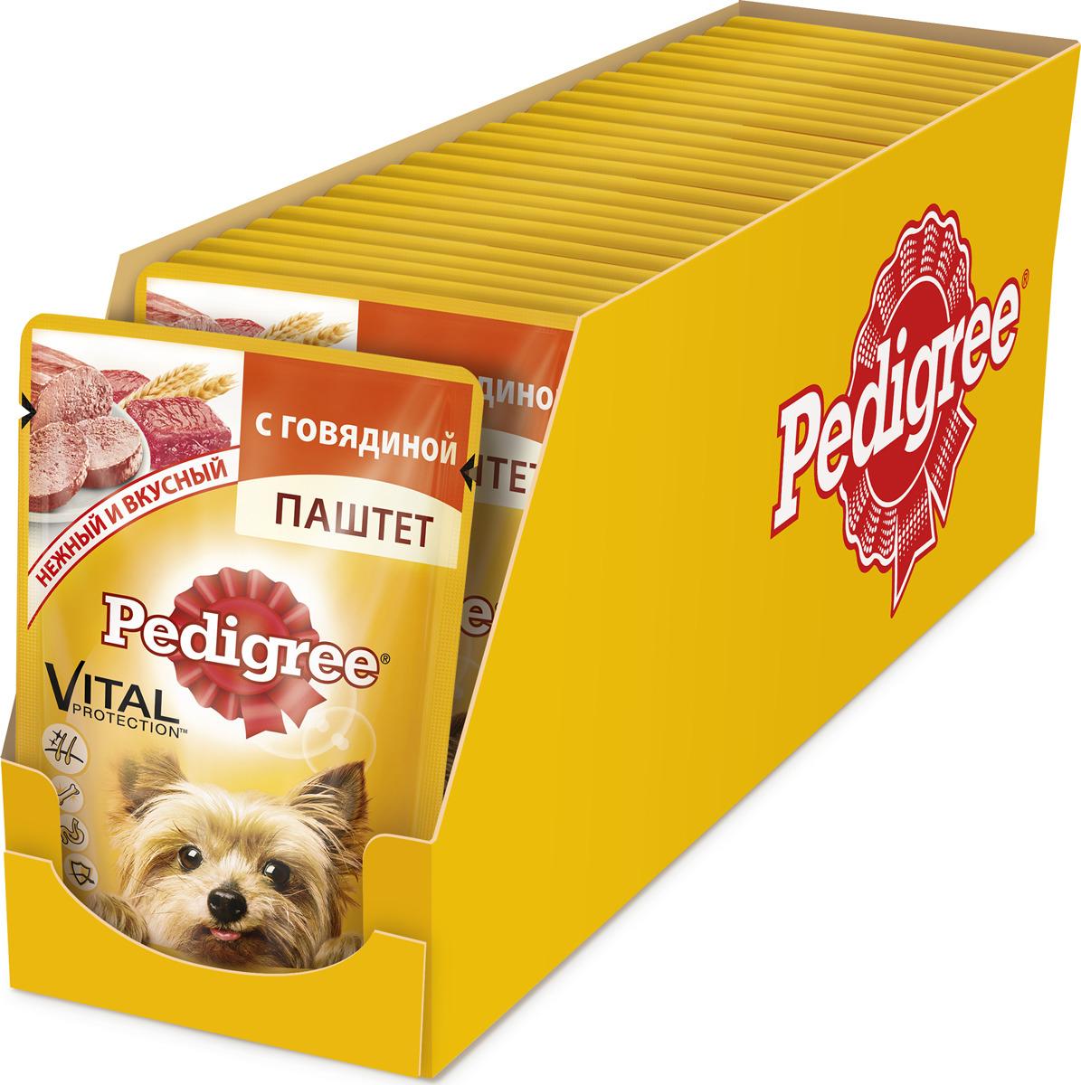 """Консервы """"Pedigree"""" для собак мелких пород от 1 года, паштет с говядиной, 80 г х 24 шт"""