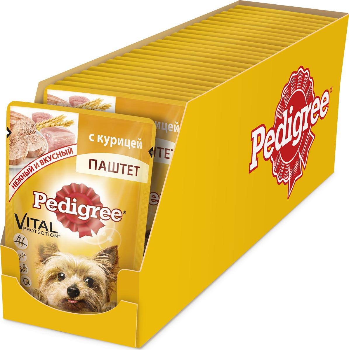 """Консервы """"Pedigree"""" для взрослых собак мелких пород, паштет с курицей, 80 г х 24 шт"""