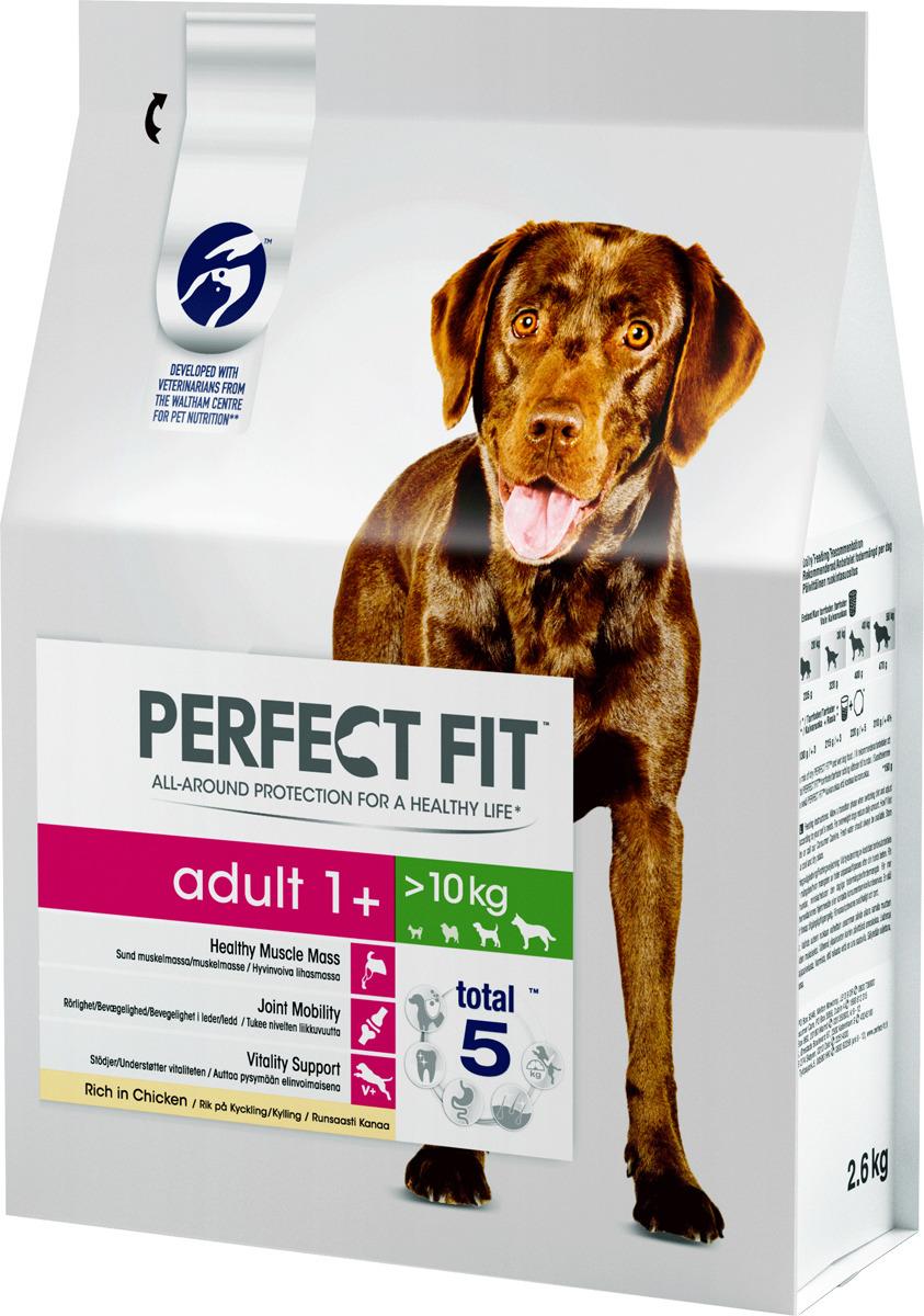 """Корм сухой """"Perfect Fit"""", для взрослых собак от 1 года средних и крупных пород, с курицей, 2,6 кг"""