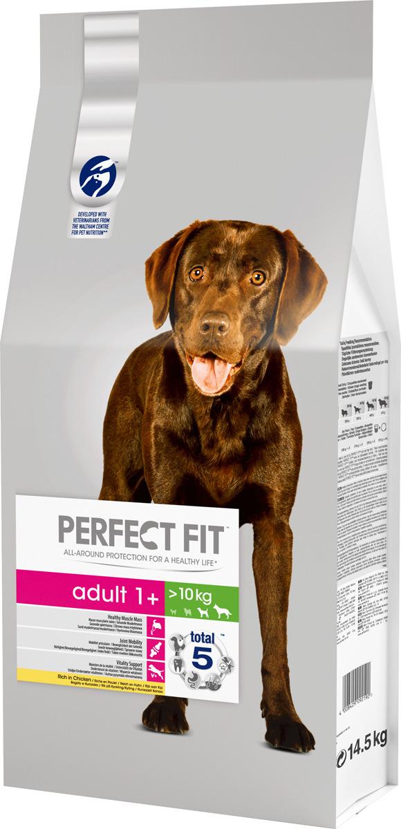 """Корм сухой """"Perfect Fit"""", для взрослых собак от 1 года средних и крупных пород, с курицей, 14,5 кг"""