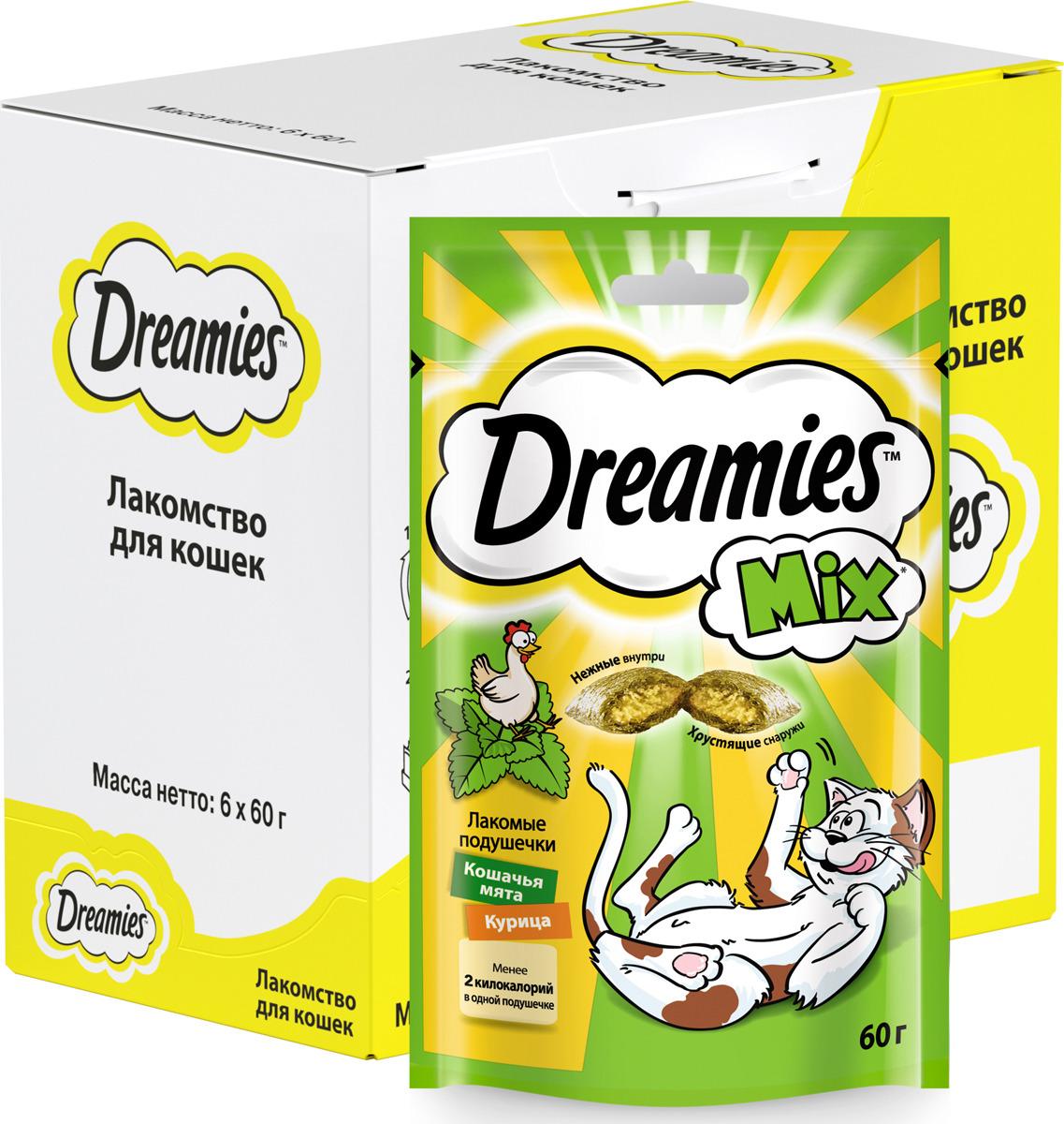 Лакомство Dreamies, для взрослых кошек, подушечки микс с курицей и мятой, 60 г лакомство для взрослых кошек dreamies подушечки с курицей 140 г
